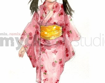 Girl in Pink Kimono 8x10 print of a watercolor painting