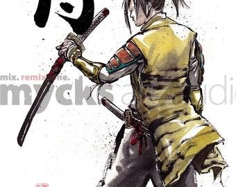 Print 8x10 Back of Samurai holding sword Japanese Calligraphy