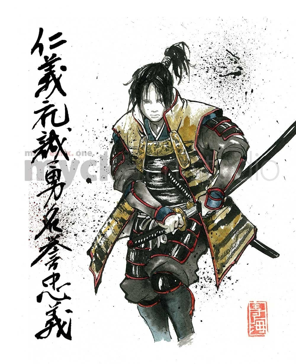 Print Samurai Drawing Sword With Japanese Calligraphy 7