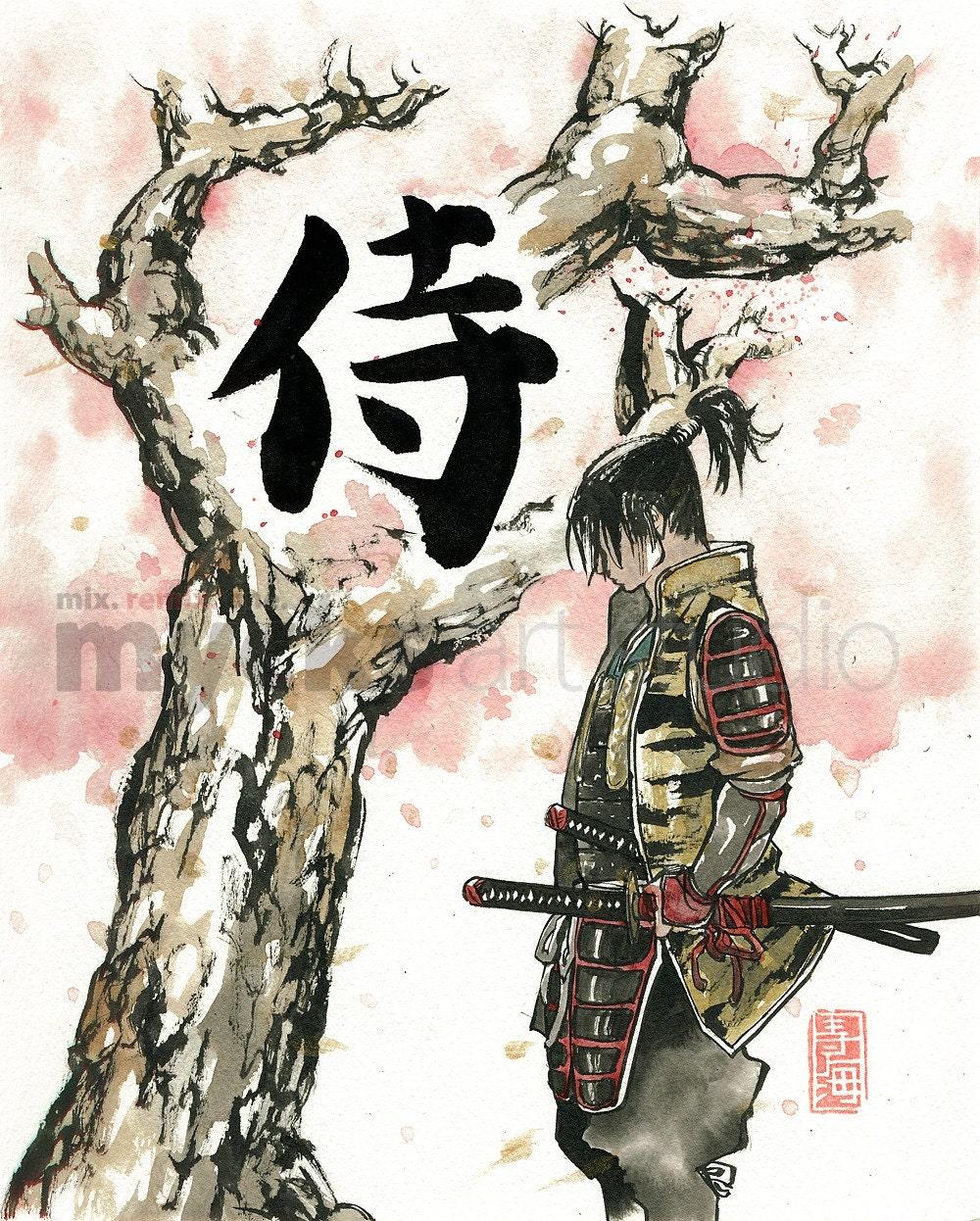 Print Samurai Under Sakura Cherry Blossoms Tree 8x10