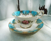 RESERVED Vintage Turquoise Teacup and Saucer