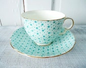RESERVED Turquoise Blue Adderley Chintz Teacup and Saucer