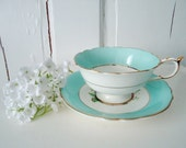 RESERVED LISTING Vintage Turquoise Blue and Floral Teacup Tea Cup and Saucer