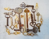 Vintage Skeleton and Cabinet Keys -  Lot of 22 Steel Brass Iron
