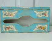 Vintage Baret Ware Turquoise Tin Tissue Box Holder