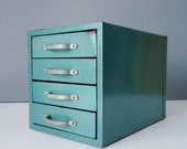 Industrial Teal Wards Storage Chest - Industrial Metal Tool Storage - Industrial Jewelry Box - Desk Top Storage