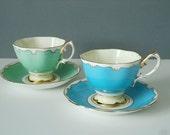 A Stunning Pair of Deco Royal Albert Teacups and Saucers