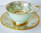 Vintage Mint Green and Gold Gilt Demitasse Paragon Teacup and Saucer