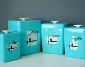 Retro Nesting Kitchen Canister Set - 1960s Turquoise Canisters