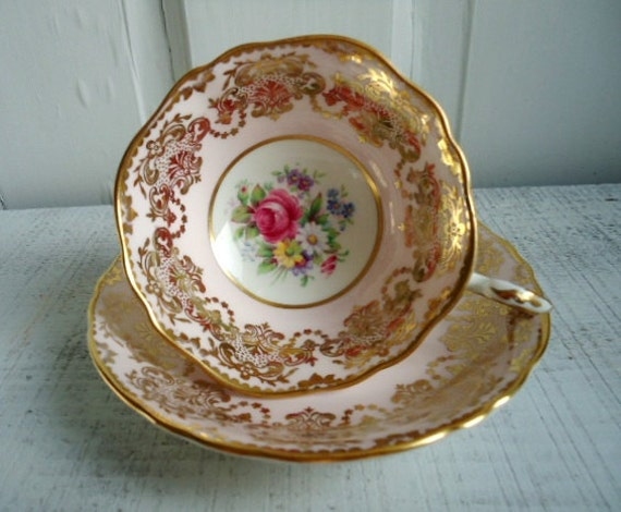 Vintage Petal Pink and Gold Gilt Teacup and Saucer