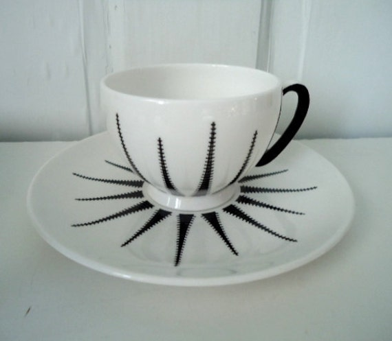 Vintage Tea Cups and Saucers, Starburst Cup, Merlinware, English Bone China, Black and White Tea Set