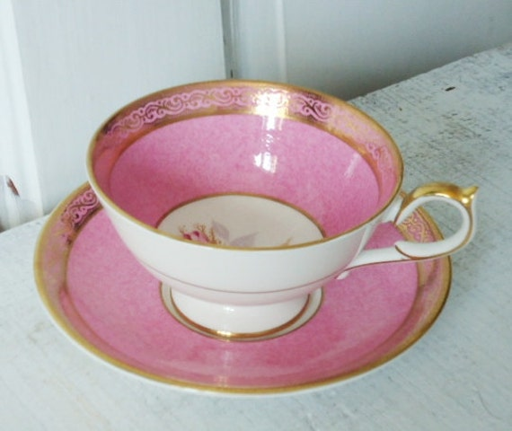 Vintage Bubble Gum Pink Tea Cup and Saucer