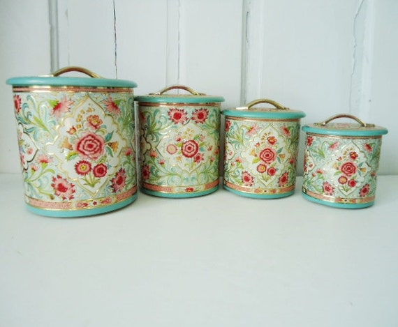 Vintage Turquoise Pink and Gold Floral Canister Set Made in Holland