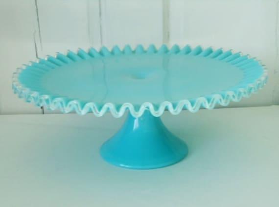 Vintage Turquoise Blue Fenton Milk Glass Cake Stand