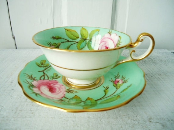 Consummate Shabby Chic Teacup and Saucer Mint Green and Pink