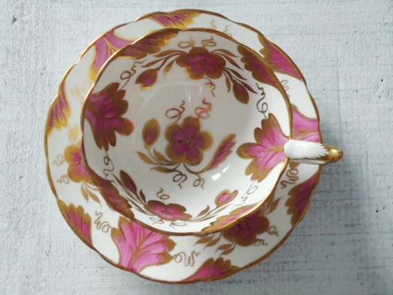 Vintage Tea Cups and Saucers - Cup and Saucer Set - Teacup Set - Hot Pink and Gold Teacups and Saucers