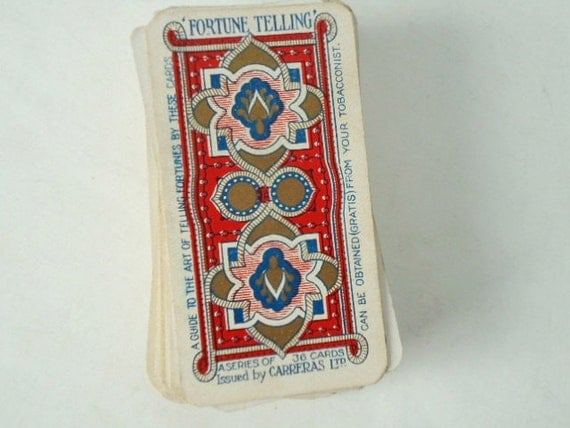 Vintage Carreras Fortune Telling Cards - Antique Rare 1926 Slim Full Deck of 36 - Complete Carreras Fortune Telling Card Deck