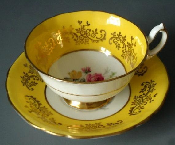 Vintage Tea Cup and Saucer Set, Yellow Tea Cup and Saucer, Adderly Sunshine Yellow and Gilt Teacup and Saucer