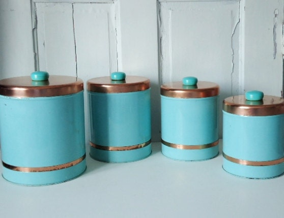 vintage 1950s turquoise and copper kitchen canisters
