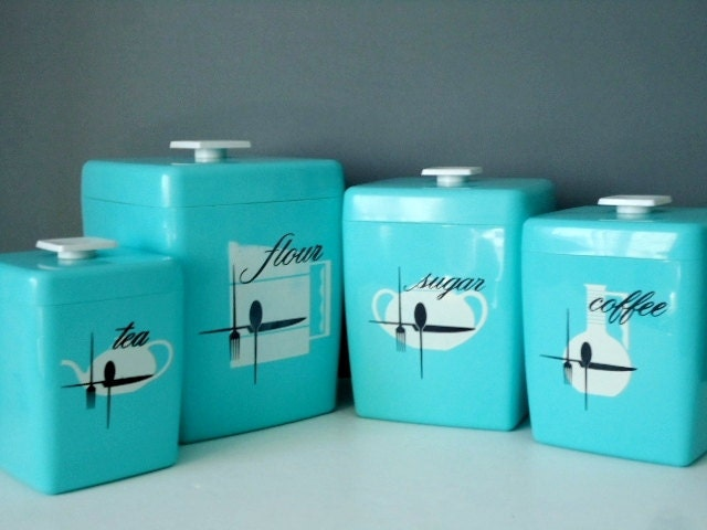 retro nesting kitchen canister set 1960s turquoise canisters vintage kitchen canister set retro canister retro kitchen