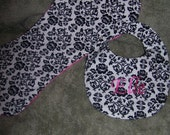 Dainty Damask Burp Cloth and Bib Set---Free Monogram---PamieKays