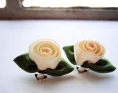 painting the roses ivory -CLIP ON- earrings (ivory and green ribbon roses on a clip on base)