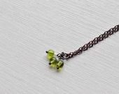 tiny citron beads -necklace (citron transparent lime green beads and vintage bronze chain minimal discreet neckpiece)