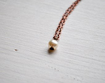 tiny romantic pearl -necklace (faux pearl bead and bronze heart pin charm and vintage bronze chain minimal discreet neckpiece)