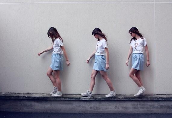 the Elle -skirt (light blue polka dot skirt one size cotton print mini skirt with elastic waist size UK 6-10)