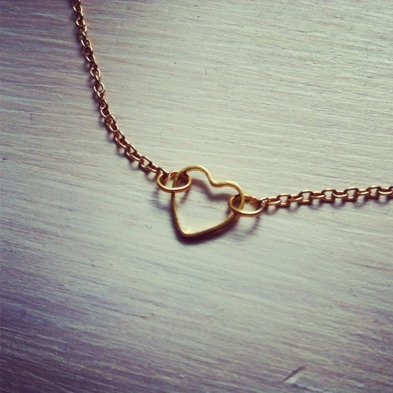 tiny dainty heart -necklace (gold heart charm and gold plated chain minimal discreet neckpiece)