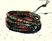 Bohemian, czech glass, jasper, and brass 4x leather wrap bracelet