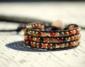 Red Leopard, triple layer jasper and gold cuff bracelet