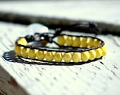 Sunshine, bright yellow faceted Czech glass leather wrap bracelet