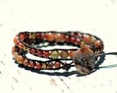 Red rock jasper, double leather wrap bracelet