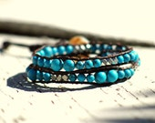 Southwest, turquoise Howlite and silver double leather wrap bracelet