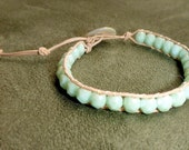 Mint, single leather wrap bracelet