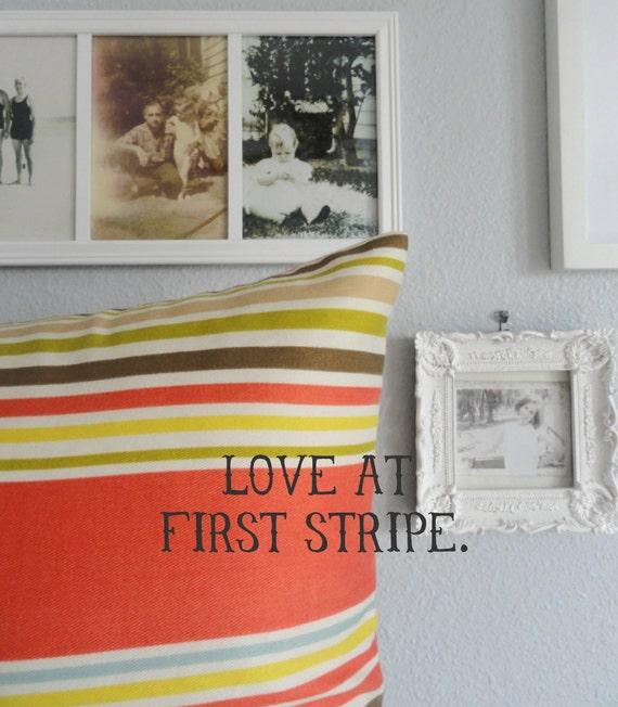 Designer Decorative Pillow - Sunny Stripes in Coral Blue Green - Lumbar - Throw Pillow
