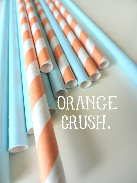 20 Multi Colored Striped Retro Paper Straws with DIY Straw Toppers