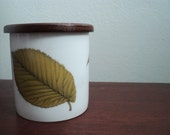 vintage English pottery canister storage jar leaves natural