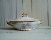 antique haviland limoges france oval covered casserole pink white apple blossoms gold daubs