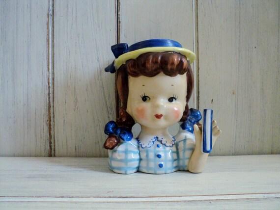 vintage Napco Little girl with pigtails and blue dress head vase