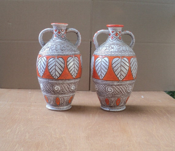 vintage midcentury Fratelli Fanciullacci Italian art pottery pair of orange brown white floor vases