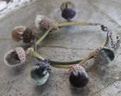 velvet acorn crochet autumn bracelet