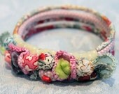 liberty fabric and crochet flower bracelet