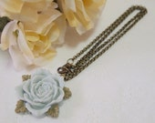 Rose Blossom Necklace in Light Blue