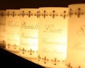 Bridal Party Place Card Luminaries Black Vintage Scroll Design