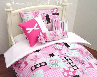 Doll Bedding 5 Pc Set for 18 Inch Dolls - Butterflies on Pink