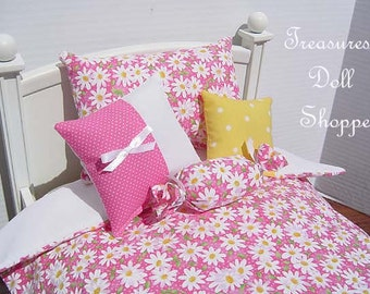 Doll Bedding 5 Pc Set for 18 Inch Dolls - White Daisies on Pink with Yellow