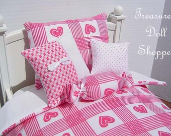 Doll Bedding  5 Pc Set for 18 Inch Dolls - Pink Hearts