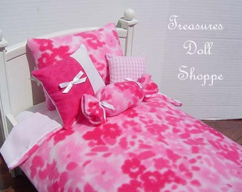 Doll Bedding  AMERICAN GIRL 5 Pc Set for 18 Inch Dolls - Mottled Pink Floral Fleece